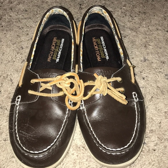 Skechers Topsider Brown Boat Shoes Size